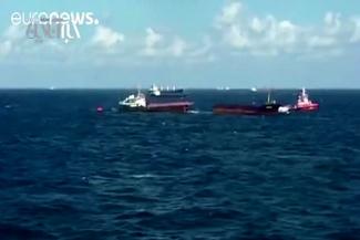 فیلم / نصف شدن کشتی باری مغولستان در آبهای ترکیه