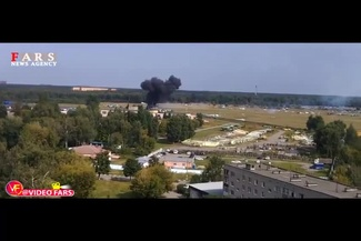 فیلم/ لحظه سقوط هواپیما در مسکو